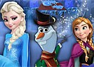 Elsa and Anna Building Olaf